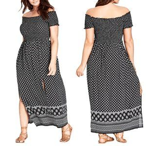 CITY CHIC Smocked Off-the-Shoulder Maxi Dress